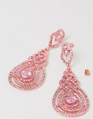 Izoa Nouveau Crystal Earrings Rose Gold Pink