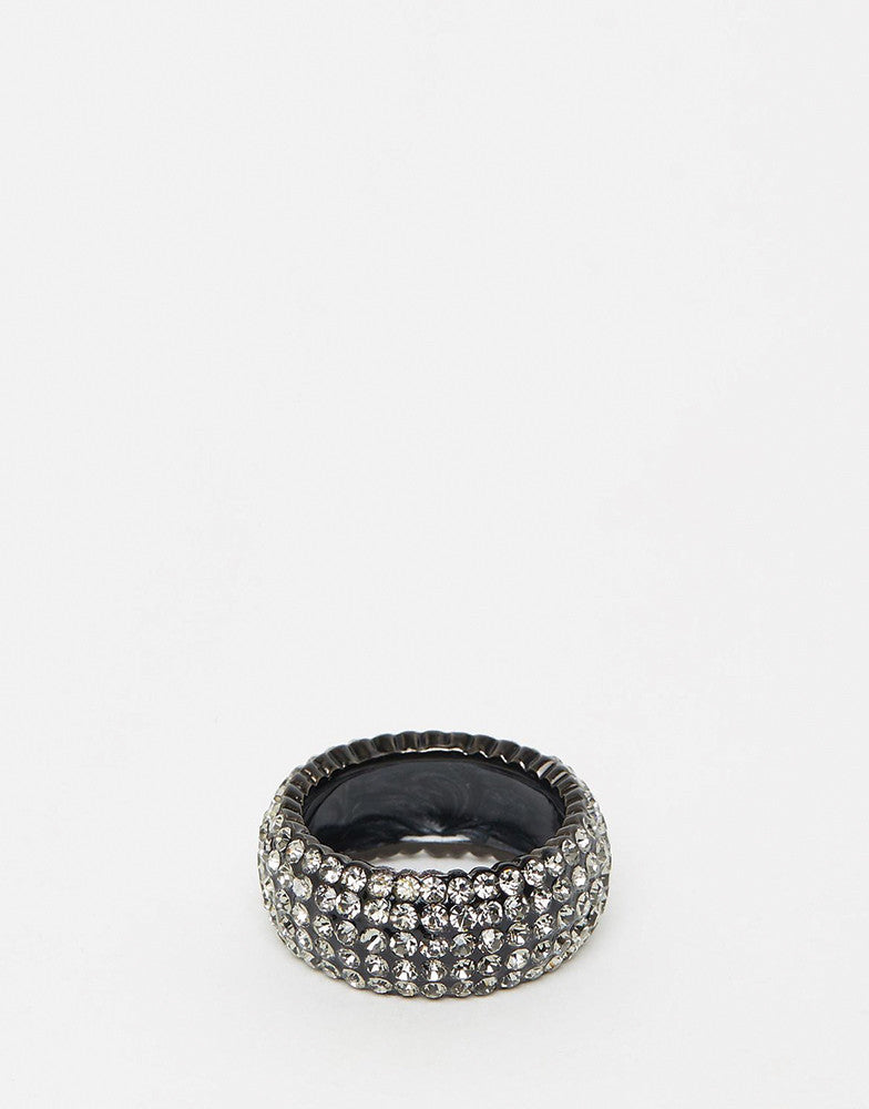 Izoa Crystal Ring Gunmetal Black