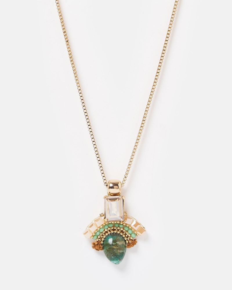 Izoa Crystal Castles Necklace in Gold Green