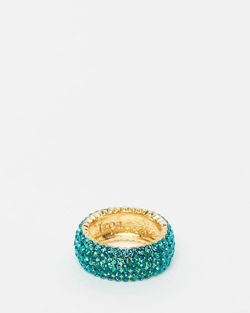 Izoa Crystal Ring Gold Aqua