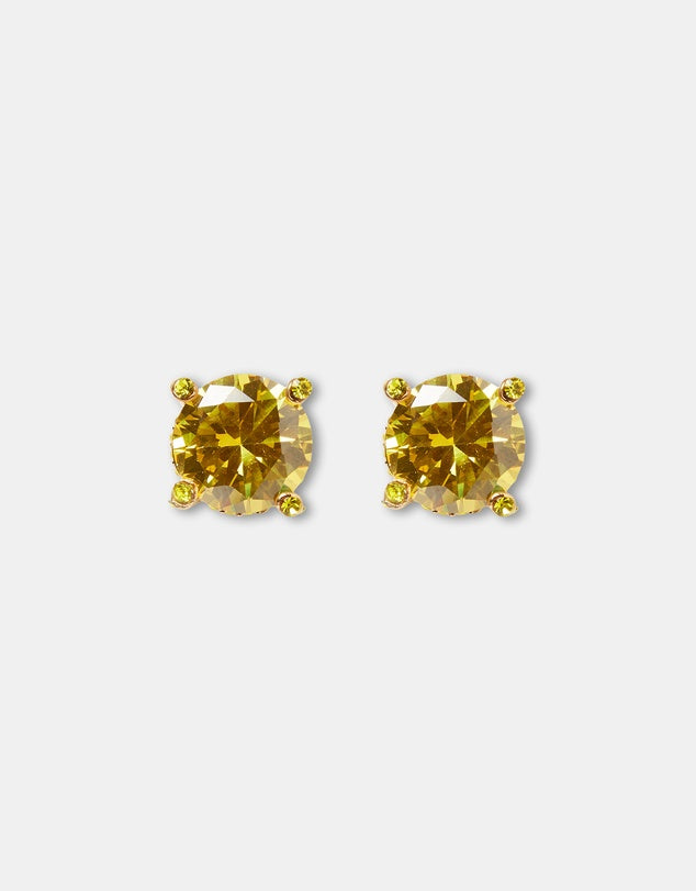 Izoa Cubic Zirconia Large Stud Earrings Gold & Lime