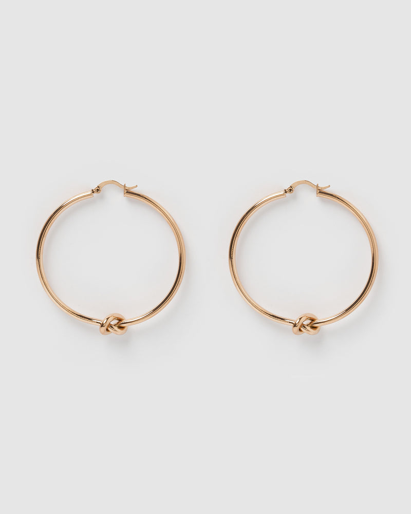 Izoa Callie Hoop Earrings Rose Gold