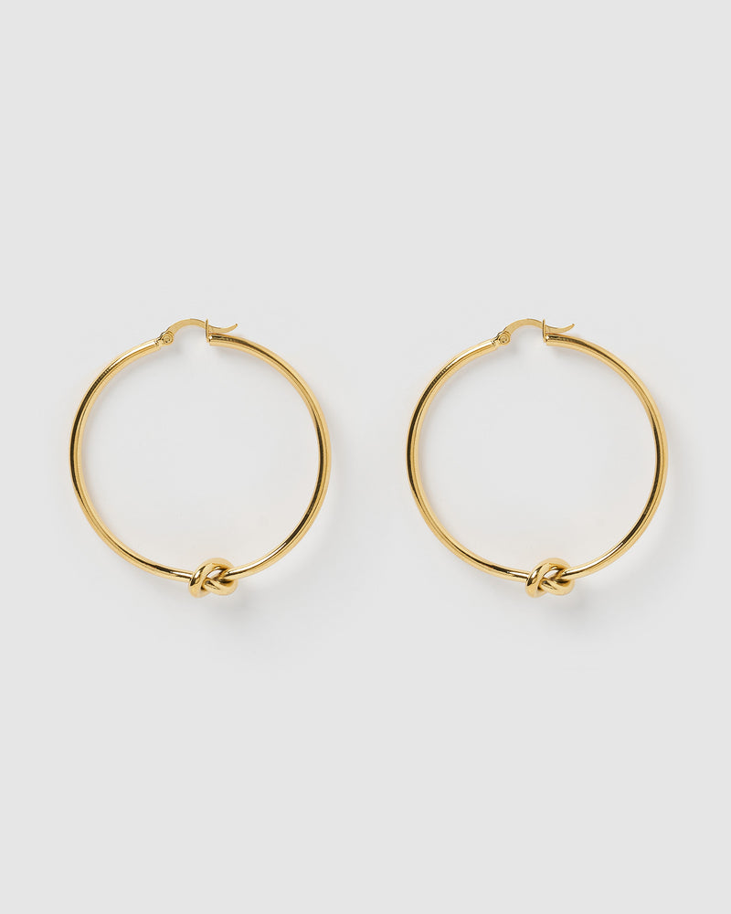 Izoa Callie Hoop Earrings Gold