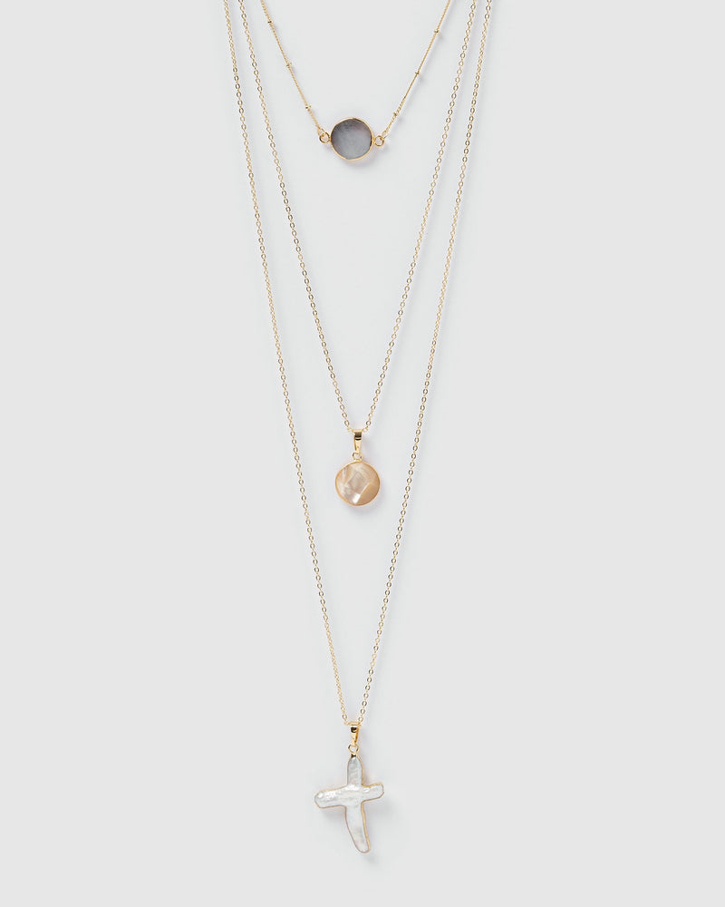 Miz Casa & Co Ceta 3 Layer Pearlescent Tier Necklace