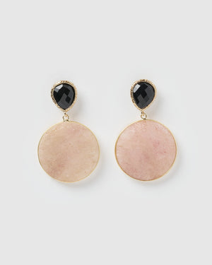 Miz Casa & Co Chelsea Earrings Rose Quartz Gold