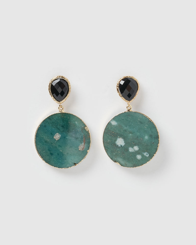 Miz Casa & Co Chelsea Earrings Teal Gold