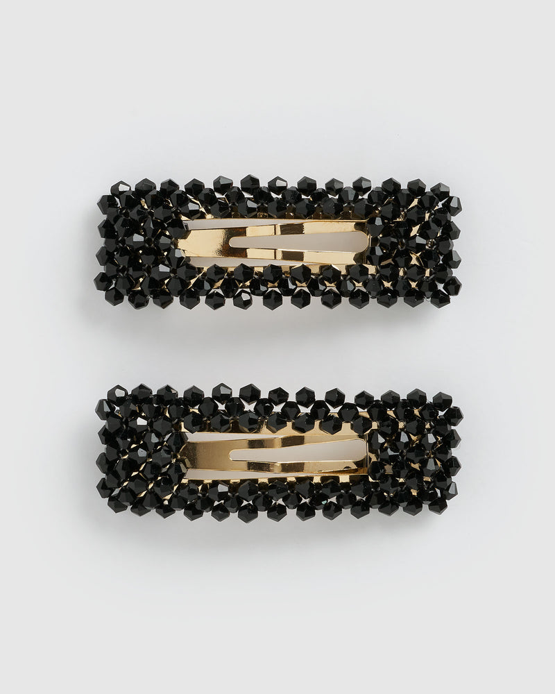 Izoa Dazzled Hair Clip Set Gold Black