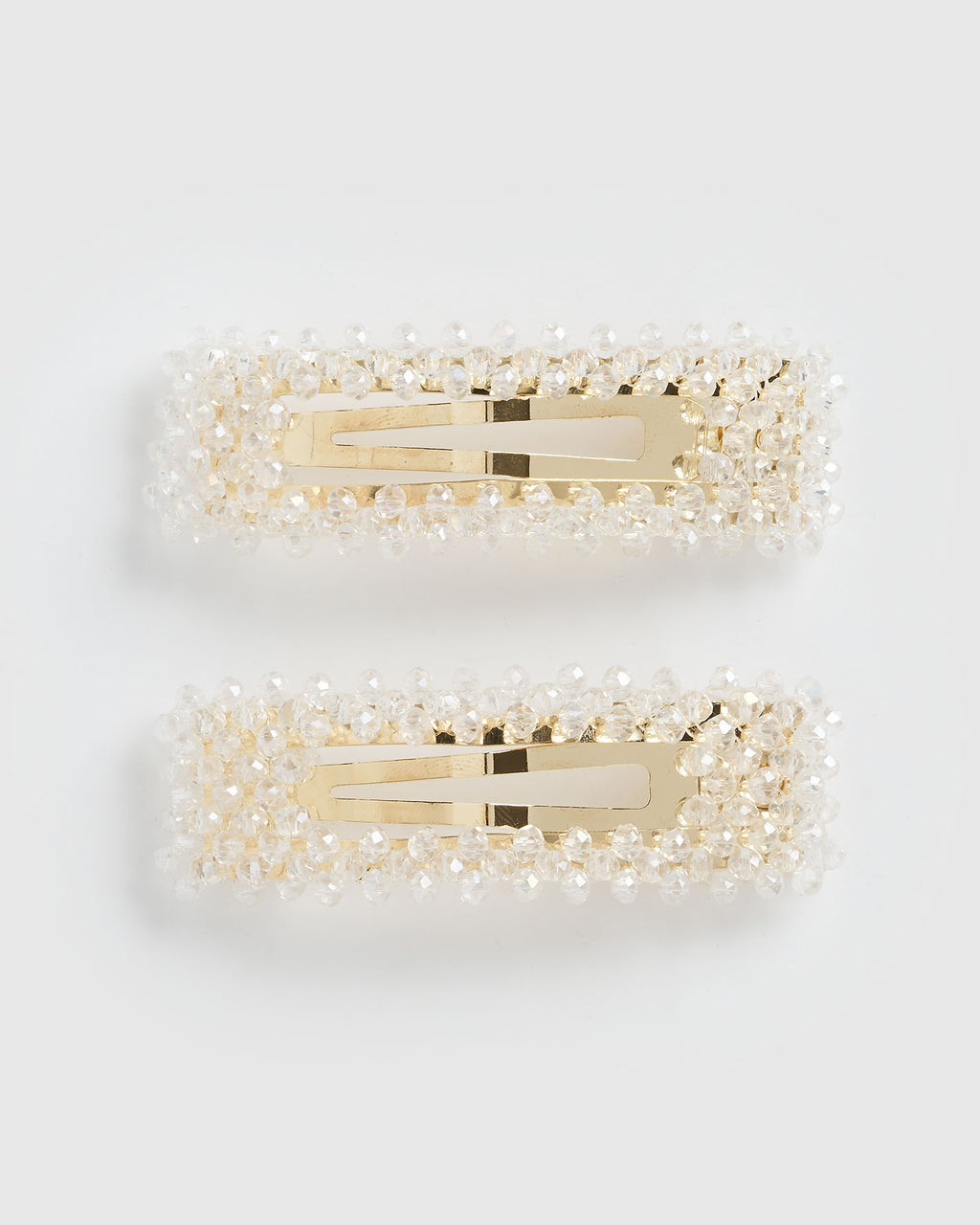 Izoa Dazzled Hair Clip Set Gold Clear