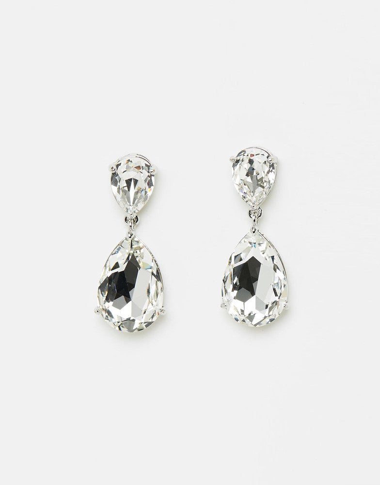 Izoa Double Tear Drop Earrings Silver Clear