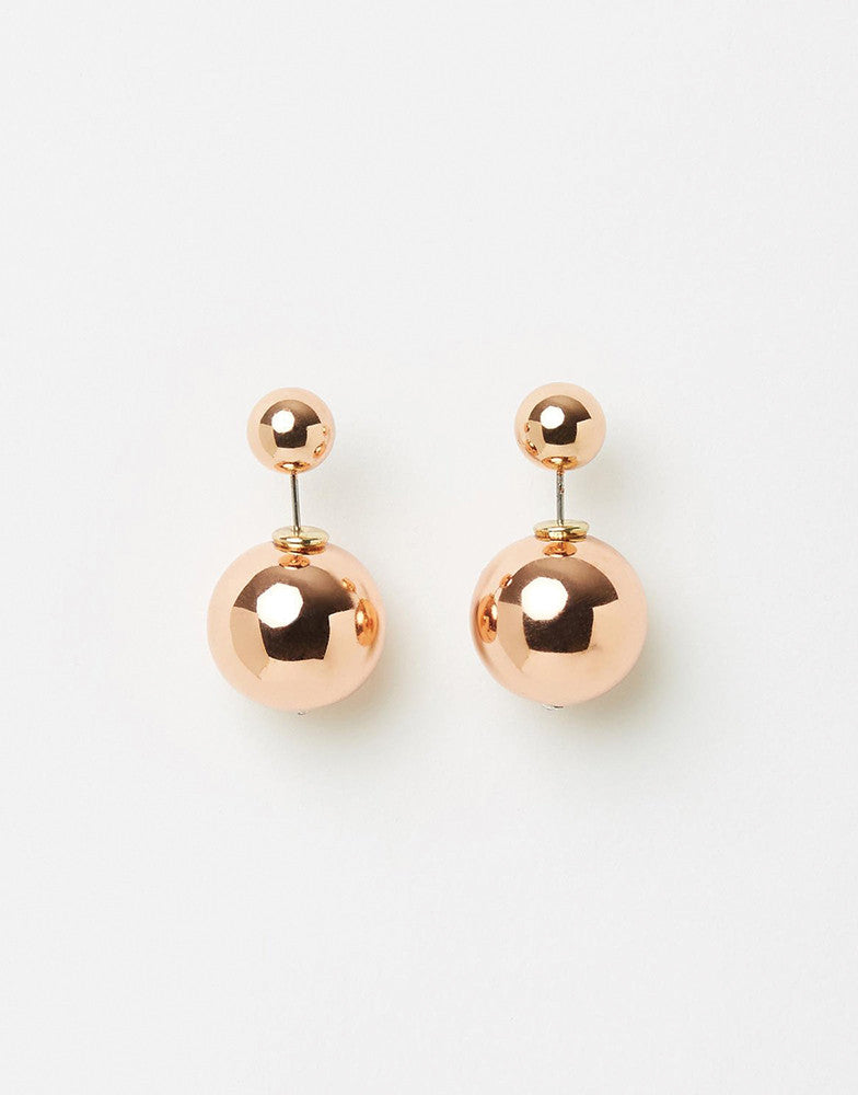 Izoa double trouble stud earrings rose gold