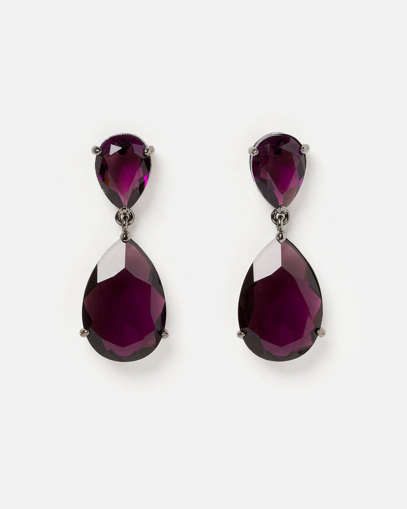 Izoa Double Tear Drop Earrings Deep Purple