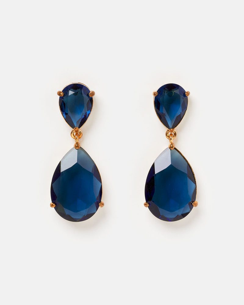 Izoa Double Tear Drop Earrings Navy Gold