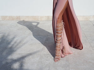 Izoa Egyptian Gladiator Lace Up Heels Blush