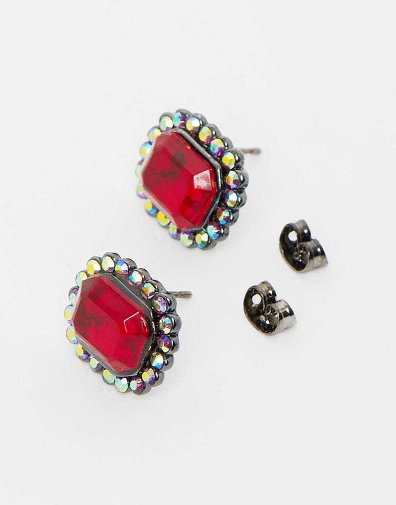 Izoa Dynasty Stud Earrings Red Iridescent