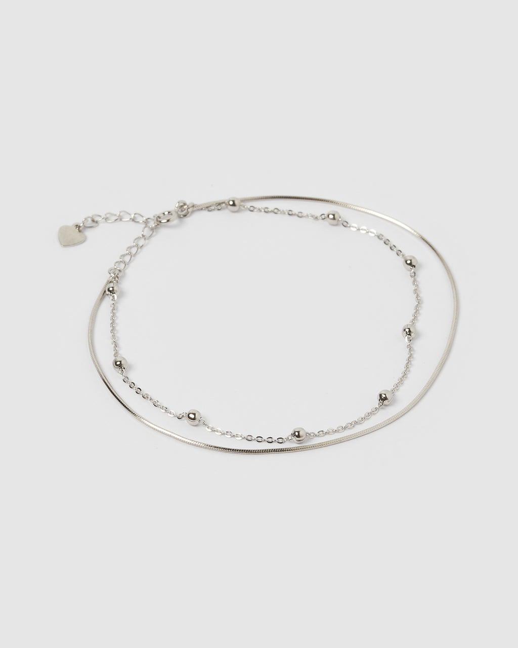 Izoa Delicate Ball and Chain Anklet Silver