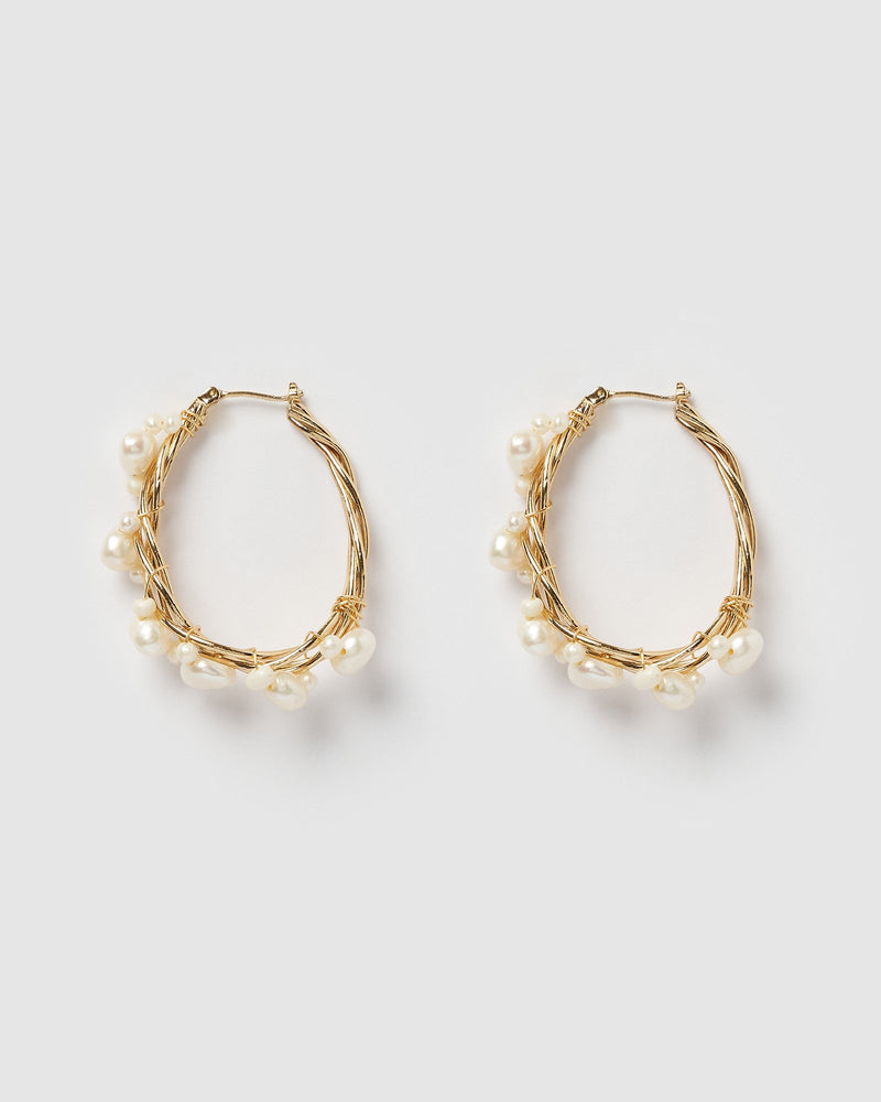 Miz Casa & Co Devine Wire Hoop Earrings Gold Pearl