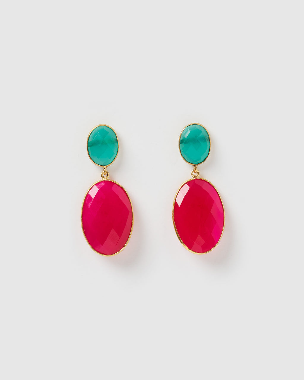 Izoa Divinity Earrings Turquoise Fuchsia Chalcedony