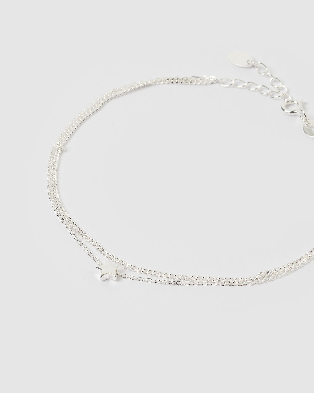 Izoa Star Double Chain Anklet Silver