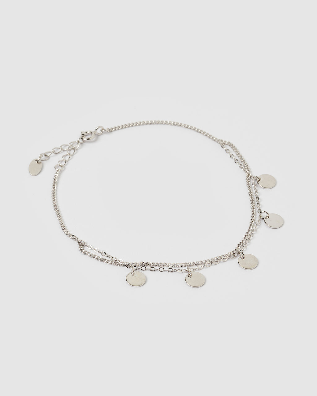 Izoa Coin Double Chain Anklet Silver