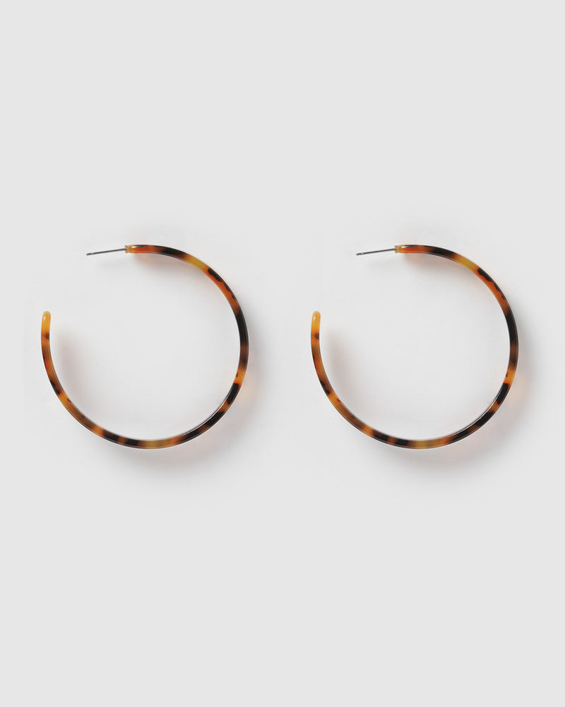 Izoa Ebony Hoop Earrings Tortoise Shell