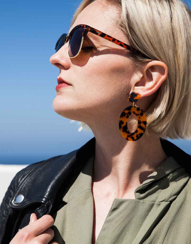 Izoa Elena Earrings Tortoise Shell
