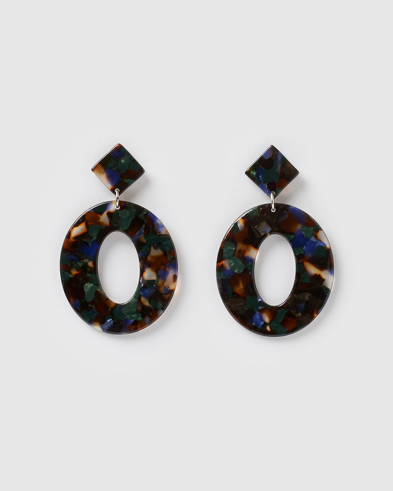 Izoa Elena Earrings Black Speckle