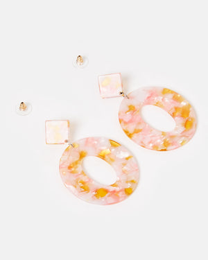 Izoa Elena Earrings Pink Speckle