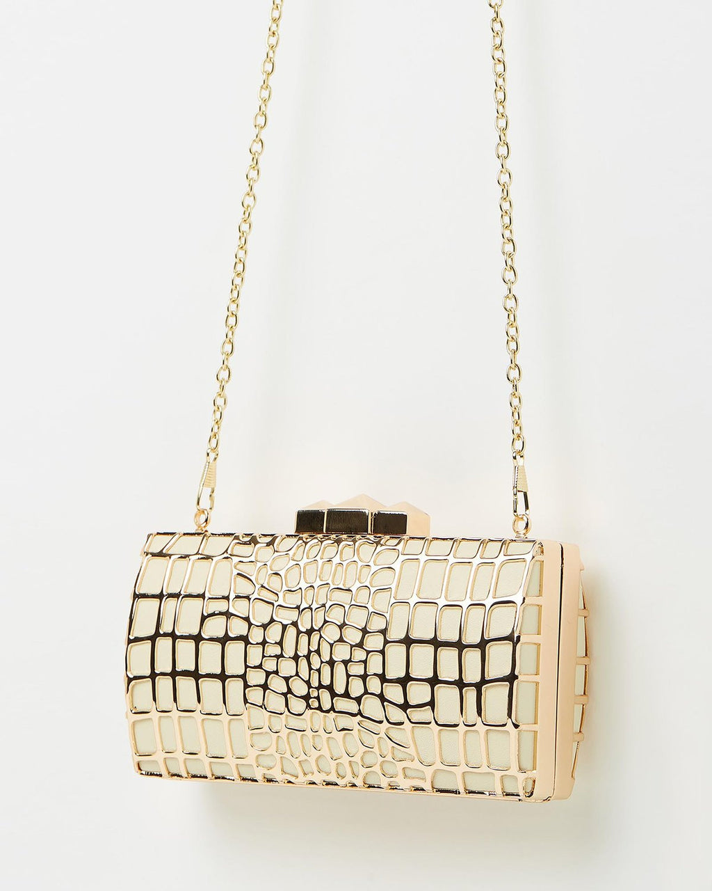 Izoa Elizabeth ivory and gold clutch