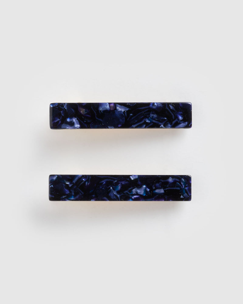 Izoa Eliza Hair Clip Set Navy Speckle