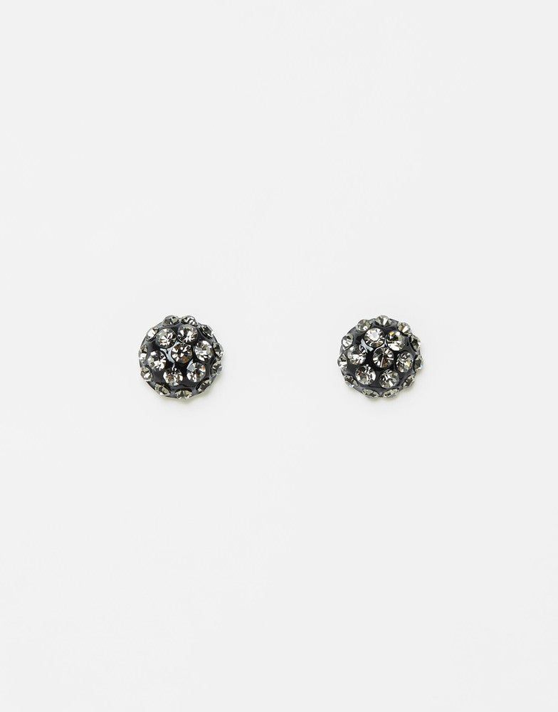 Izoa Embellished Crystal Stud Earrings Gunmetal