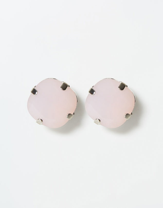 Izoa Emily Stud Earrings Silver Pink Opal