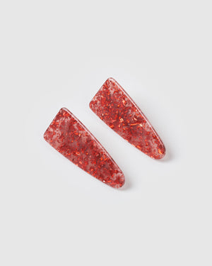 Izoa Esther Hair Clip Set Red Speckle