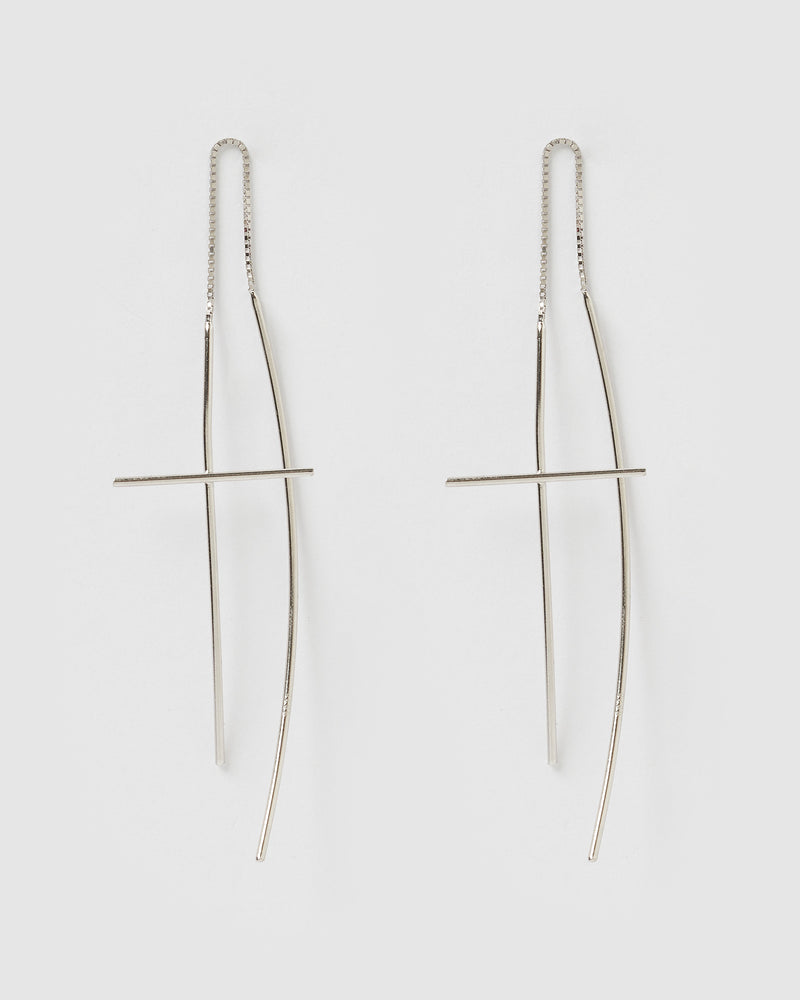 Izoa Evie thread Earrings Silver