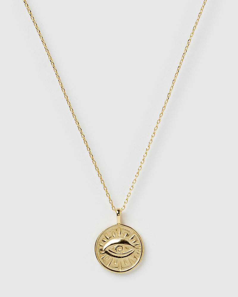 Izoa Evil Eye Pendant Necklace Gold