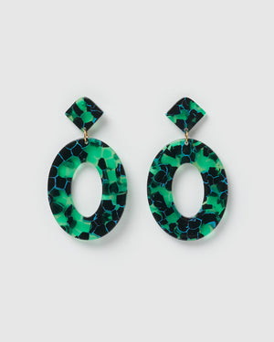 Izoa Elena Earrings Green Speckle
