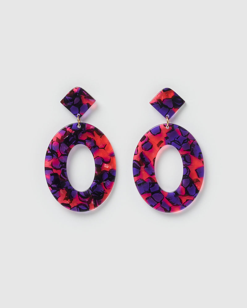 Izoa Elena Earrings Pink Purple Speckle