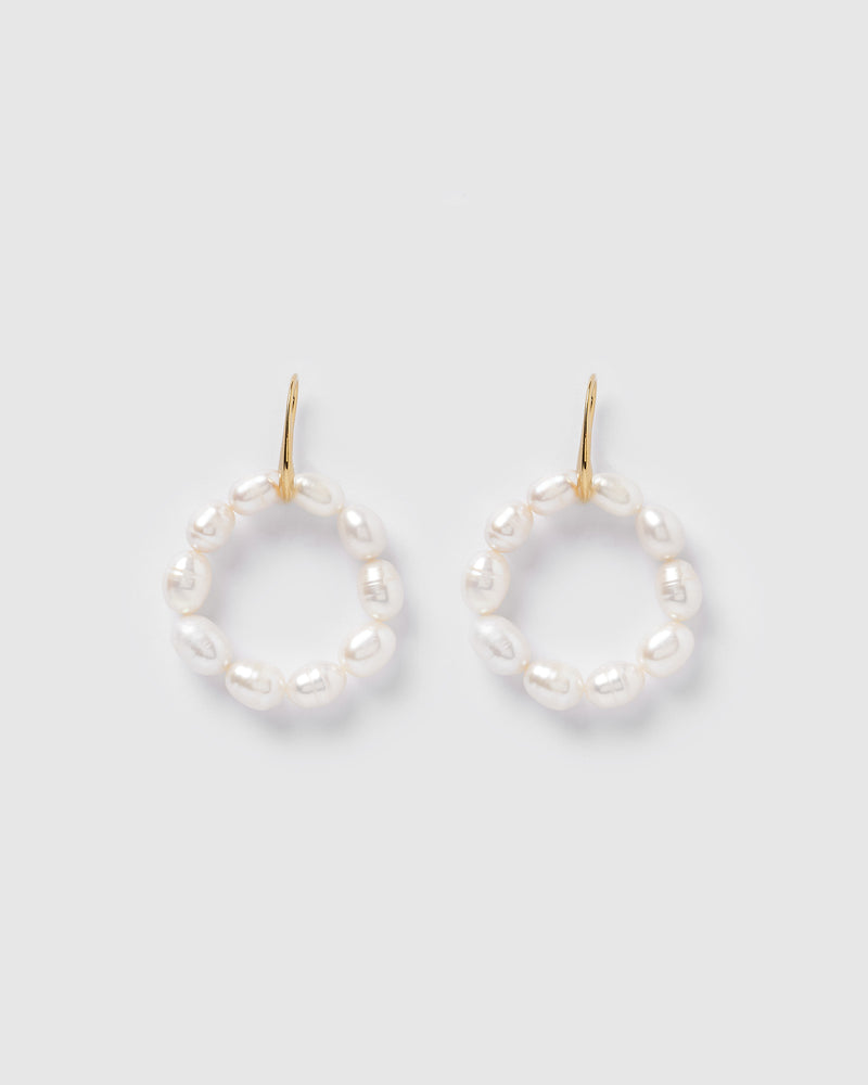Izoa Elizabeth Hoop Earrings Gold Pearl