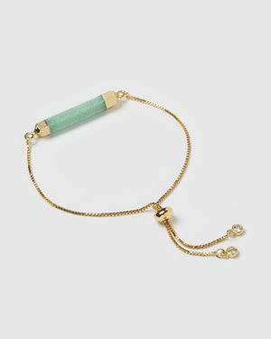 Miz Casa & Co Faceted Stone Bracelet Jade