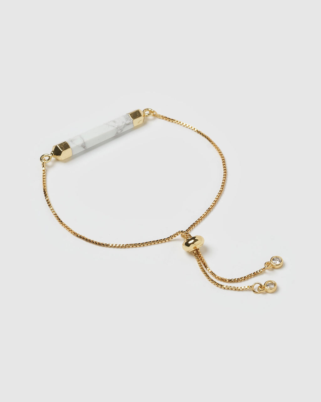 Miz Casa & Co Faceted Stone Bracelet White Marble