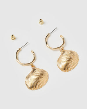 Miz Casa & Co Far Away Shell Hoop Earrings Gold