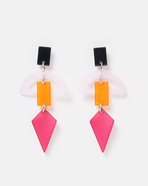 Izoa Figura Earrings Pink Multi Colour