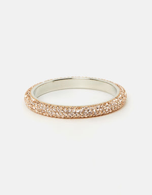 Izoa Five Row Crystal Bangle Peach
