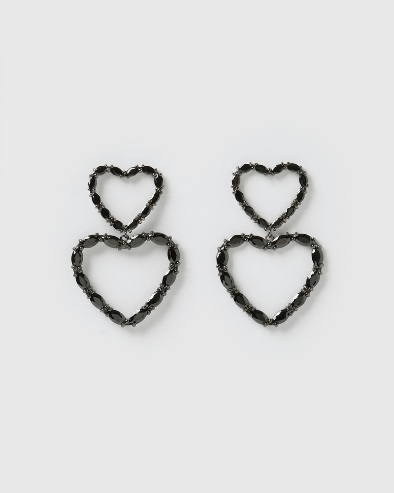 Izoa Full of Love Earrings Gunmetal Black