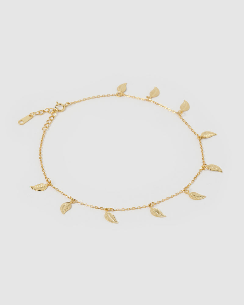 Izoa Fern Leaf Chain Anklet Gold