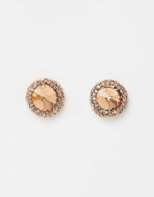 Izoa Gem Earrings Rose Gold