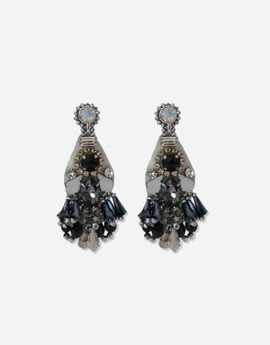 Izoa Glamorous Earrings Silver Black