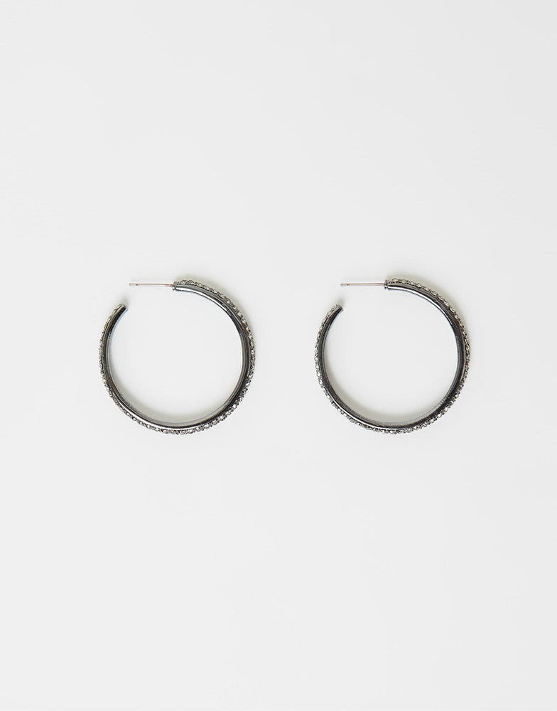 Izoa Glitter Hoop Earrings Gunmetal