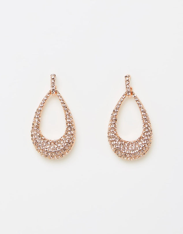 Izoa Glitz Earrings Rose Gold Peach