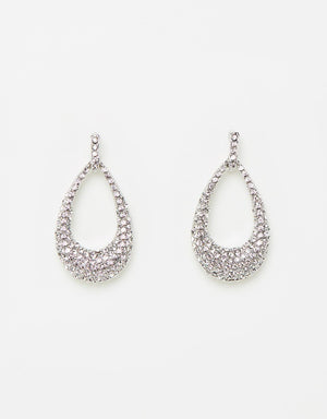 Izoa Glitz Earrings Silver Clear