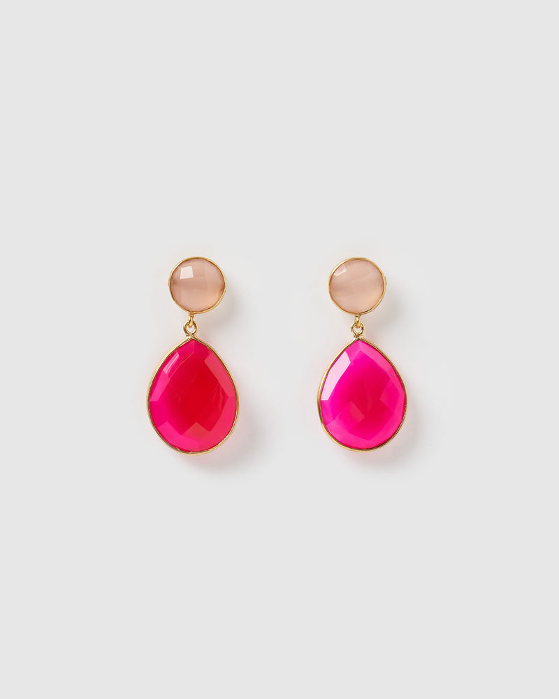 Izoa Gala Earrings Fuchsia and Pink Chalcedony Gold